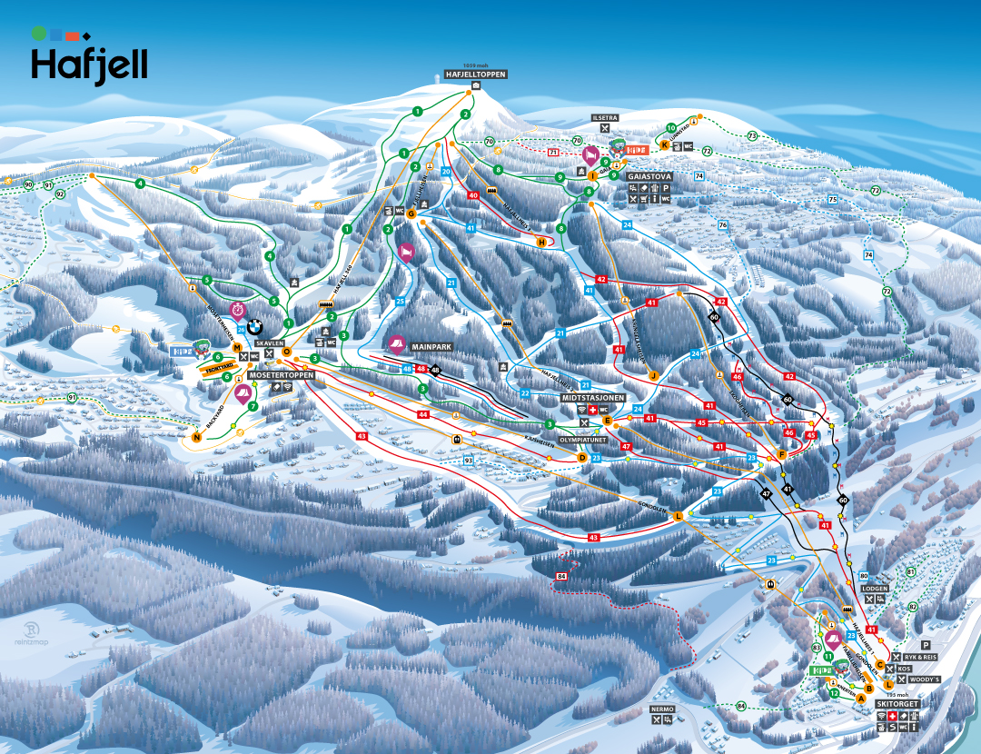 Ski Map Of Hafjell Ski Resort Hafjell