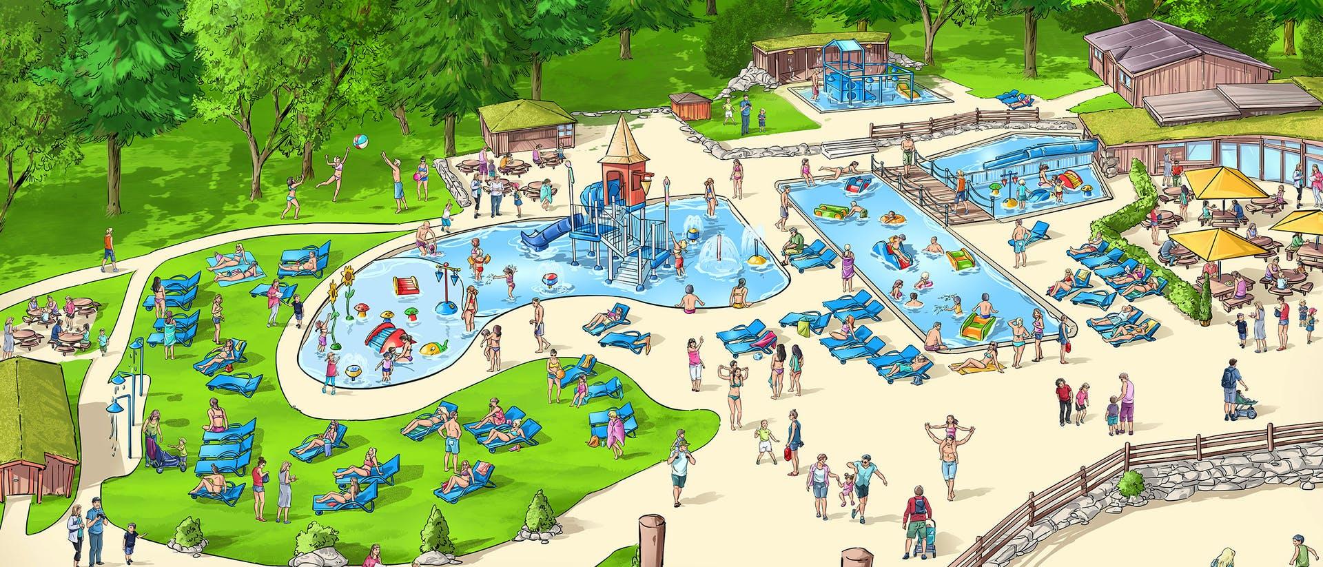 Skisse av badeanlegget Hunderfossen Eventyrpark